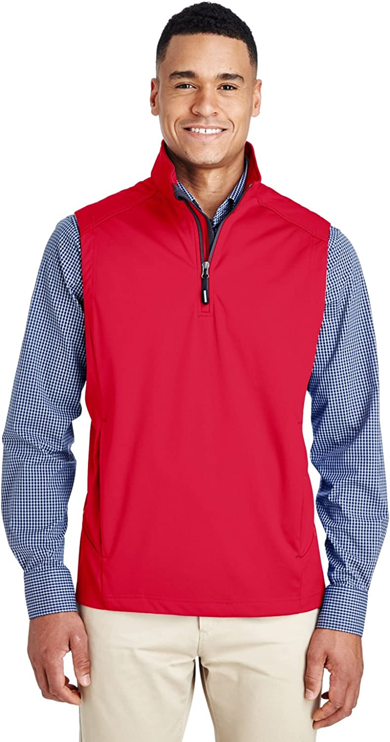 Ashe City Men's ACTY-CE709-Three-Layer Knit Tech-Shell Quarter-Zip Vest,blue , 3XL