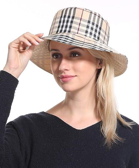 4c090c14 Bucket Sun Hat Women Cap - Cotton Plaid Beige Sun Protection Funny Summer  Tourist Fishing Beach
