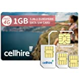 Cellhire Prepaid 4G Europe Data SIM Card - Europe 1GB Bundle - 33 countries - 3-in-1 SIM