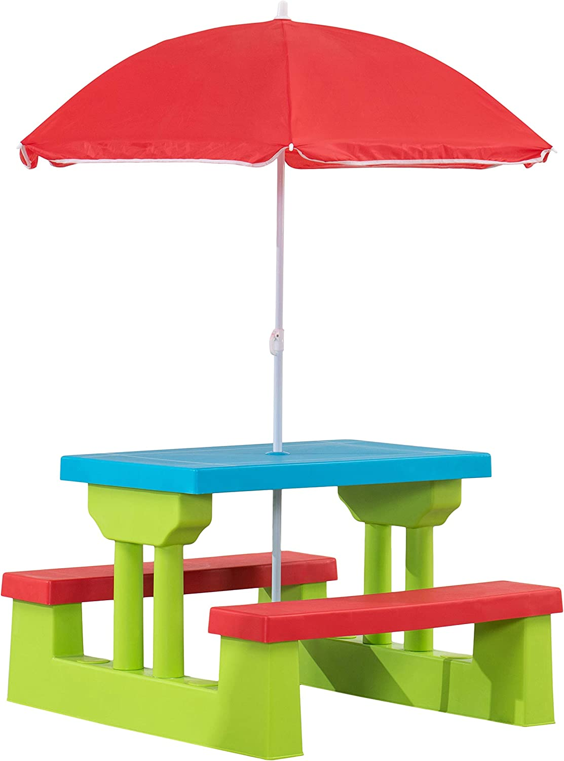 AmazonBasics Plastic Multicolored Kids Outdoor Table with Umbrella - Red / Blue / Green