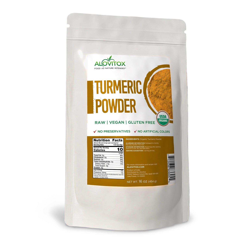 ALOVITOX Certified Organic Turmeric Root Powder Superfoods, 16 oz Bag