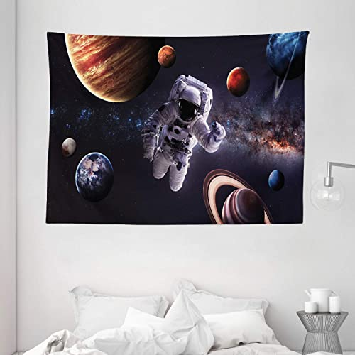 Ambesonne Outer Space Tapestry, Astronaut Between Planets Mars Neptune Jupiter Plasma Ethereal Sphere Picture, Wide Wall Hanging for Bedroom Living Room Dorm, 80 X 60 , Midnight Blue