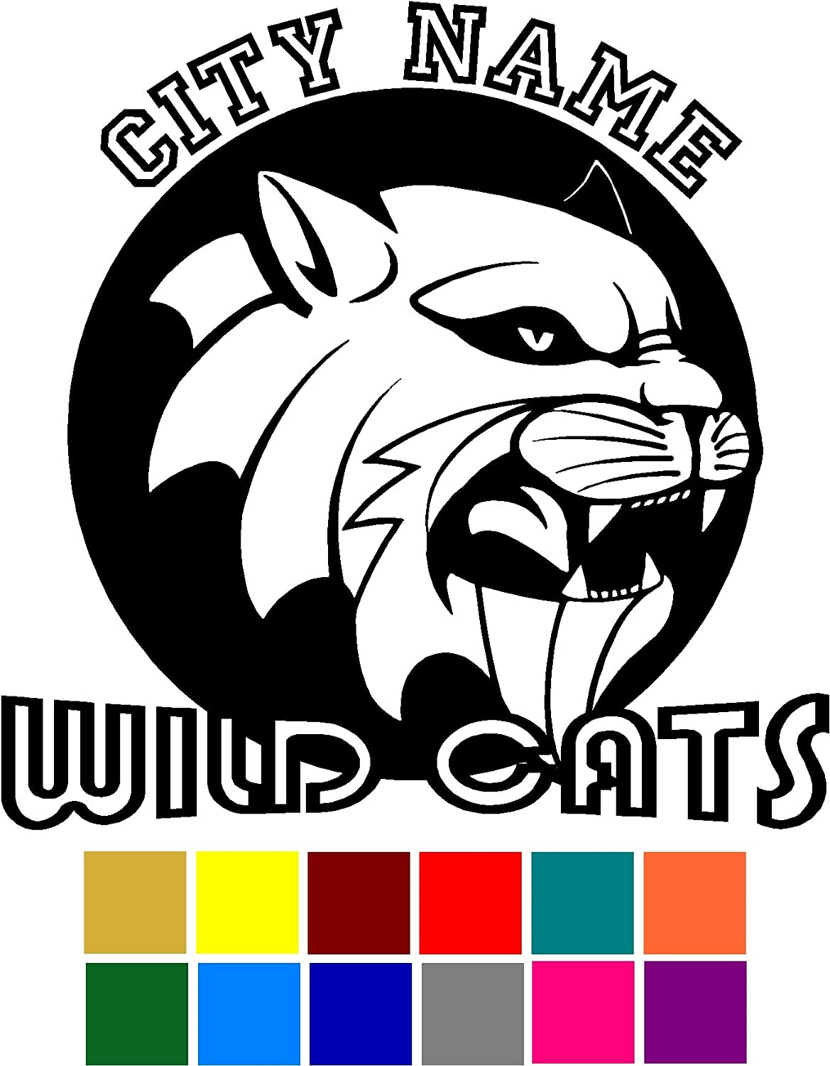 Wild Cats Sport Team Mascot City Name Circle Custom Customize Decal Sticker Vinyl Car Window Tumblers Wall Laptops Cellphones Phones Tablets Ipads Helmets Motorcycles V and T Gifts