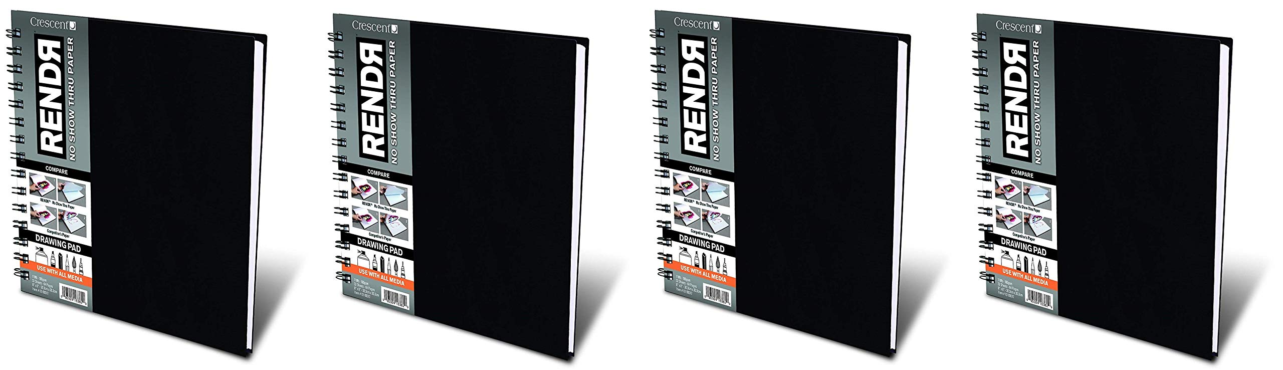 Crescent Creative Products 8-inch RENDR Wire-Bound Sketchbook, 8'' x 8'' (Fоur Расk) by Crescent