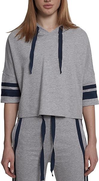 Urban Classics Damen Ladies Taped Short Sleeve Hoody