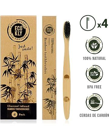 Ecokly Cepillos de dientes de madera de bambú natural, 100% ecológico, vegano y