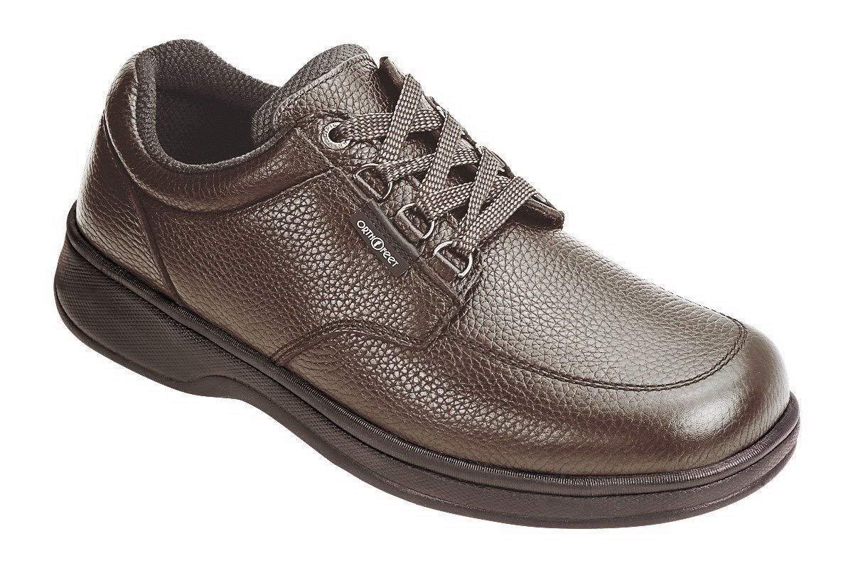 Orthofeet Avery Island Comfort Orthopedic Diabetic Walking Plantar Fasciitis Shoes for Men Brown Leather 9 W US