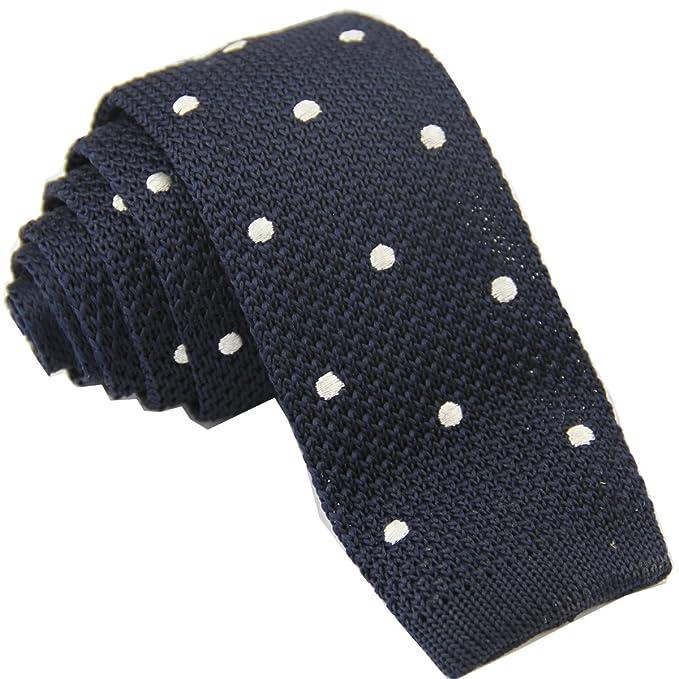 Drite Mens 2 Slim Tie Handmade Knit Square Flat End Necktie