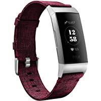 Karei Woven Bands Compatible Fitbit Charge 3/Charge 3 SE Band, Soft Accessory Sports Replacement Strap Small Large Fitbit Charge 3 Fitness Activity Tracker Women Men (Fuchsia, Small)