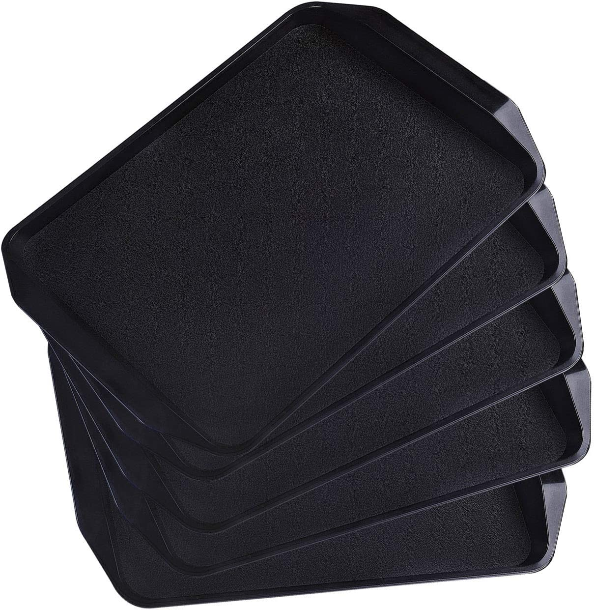 KPROE Serving Tray, Larger Square Non-Slip Plastic Trays Set of 5 Pack for Parties, Coffee Table, Breakfast (Black-5)