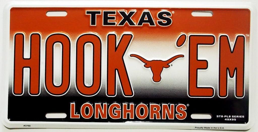 NCAA Texas Longhorns Embossed Aluminum Team Color Vanity HOOK EM License Plate