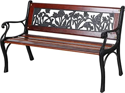 Sophia & William Outdoor Patio Kids Bench Made of Cast Iron and Solid Wood, Powder-Coated Mini Sized Bench with Backrest and Armrests for Porch, Patio, Garden, Lawn, Balcony, Backyard and Indoor