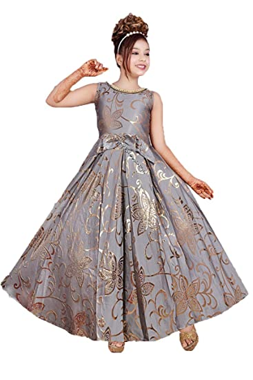 Kids Girls Full Length Grey Gown Dress: Amazon.in: Clothing & Accessories