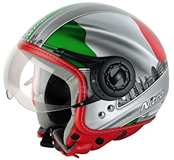 Nitro Casco Moto, Verde/Blanco/Rojo, S