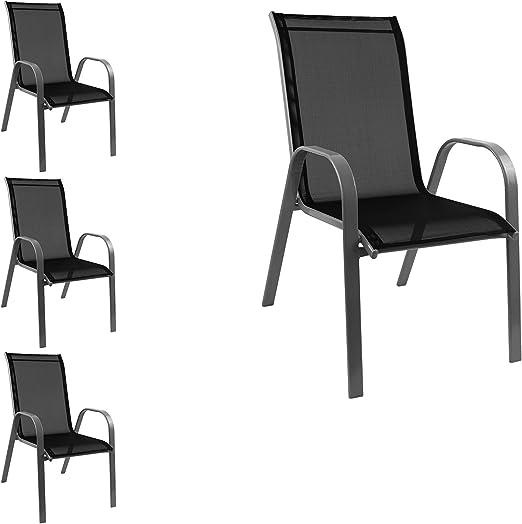 4 pieza silla apilable Jardín Sillas apilables con estructura de acero, recubrimiento para jardín o balcón terraza Muebles gris/negro: Amazon.es: Jardín