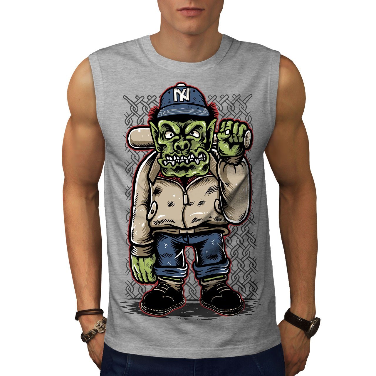 Amazon.com: wellcoda Ogre Criminal Mens Sleevless T-Shirt ...