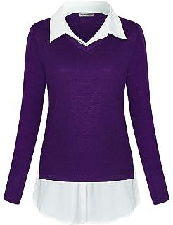 ccf0f9c30d0d Timeson Women's Long Sleeve Contrast Collar Shirt Plaid V Neck ...