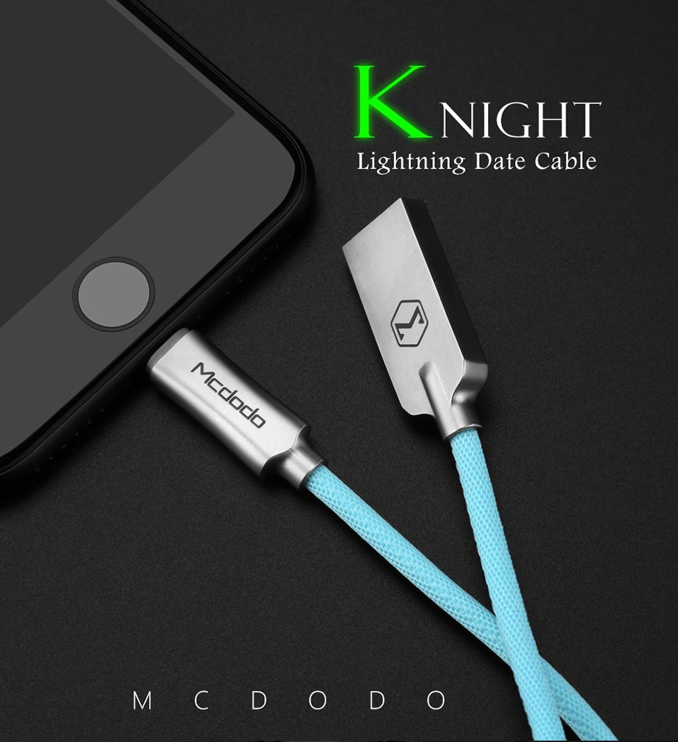Mcdodo Smart Led Auto Disconnect Lightning Data Usb Knight Series Cable Charger Iphone Charging Cord For 6s 7 Plus Tiffany Blue Cell Phones Accessories