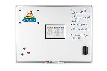 BoardsPlus - Pizarra blanca magnética con marco de aluminio y bandeja, 90 x 60 cm