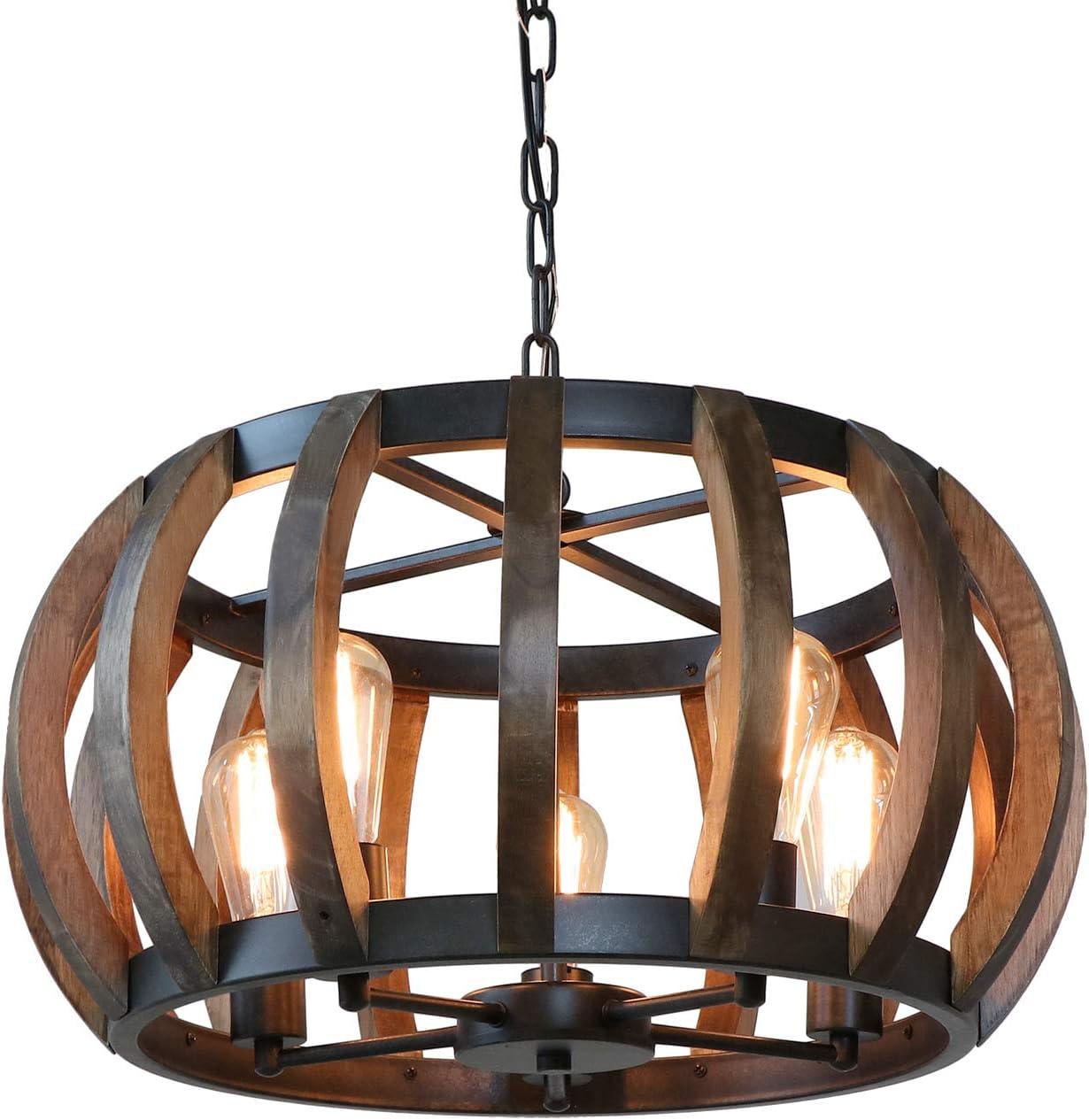 Anmytek Pumpkin Round Pendant Light Vintage Rustic Wood Frame Lamp Adjustable Chain Chandelier E26 Base Bulb Hanging Lighting Kitchen Island Dining Room Ceiling Light Fixture 5-Light C0070