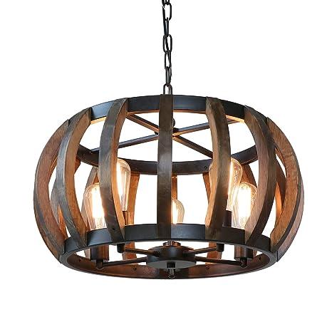Anmytek Pumpkin Round Pendant Light Vintage Rustic Wood Frame Lamp Adjustable Chain Chandelier E26 Base Bulb Hanging Lighting Kitchen Island Dining