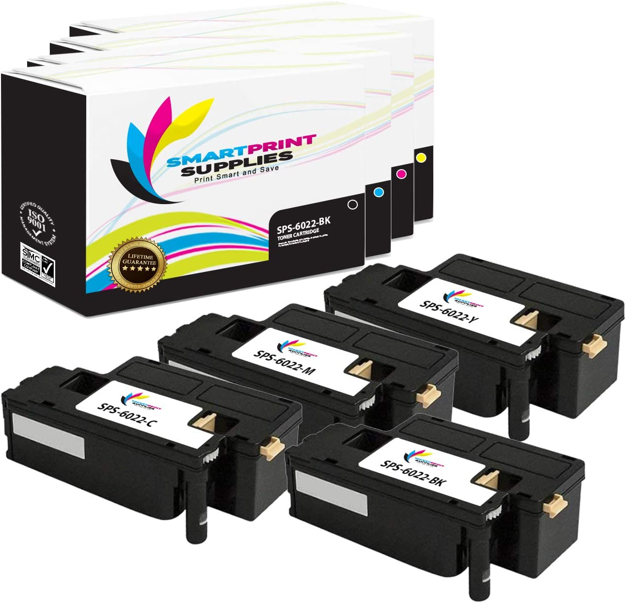 Smart Print Supplies 106R02759 106R02756 106R02757 106R02758 Compatible Toner Cartridge Replacement for Xerox Phaser 6022 - 4 Pack Black, Cyan, Magenta, Yellow Workcentre 6027 Printers