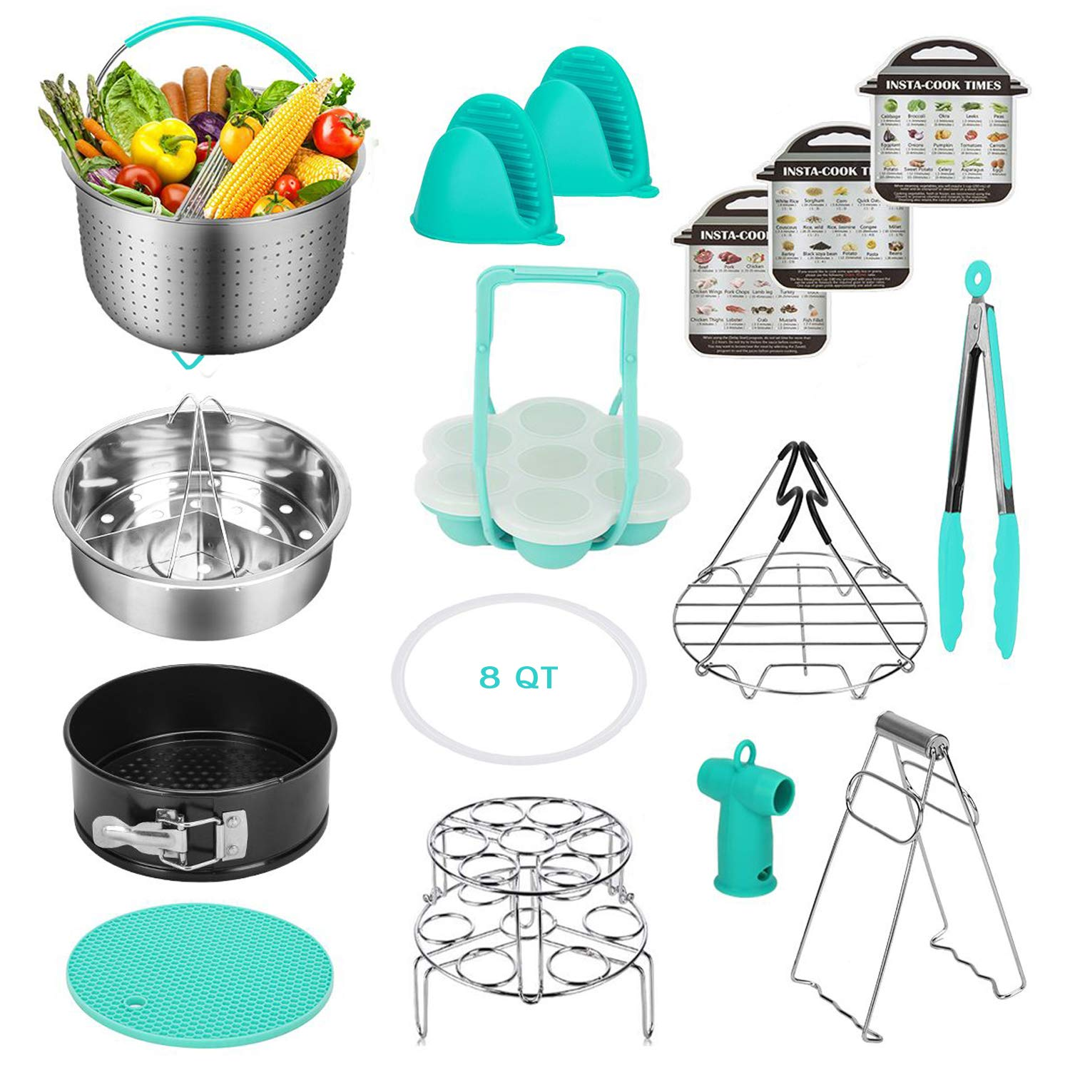 Instant Pot Accessories Set Compatible with 8,9 Qt - 8 Qt Steamer Basket, Springform Pan, Egg Steamer Rack, Silicon Egg Bites Mold, Magnetic Cheat Sheets and More (8 QT Mint Green)