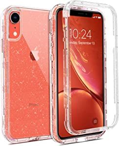 Coolwee Crystal Glitter Full Protective Case for iPhone XR Heavy Duty Hybrid 3 in 1 Rugged Shockproof Women Girls Transparent for Apple iPhone XR 6.1 inch Shiny Clear Bling Sparkle