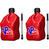 VP Racing Fuels Motorsport 5 Gallon Square Plastic Utility Jug Red & 14 Inch Hose (2 Pack)