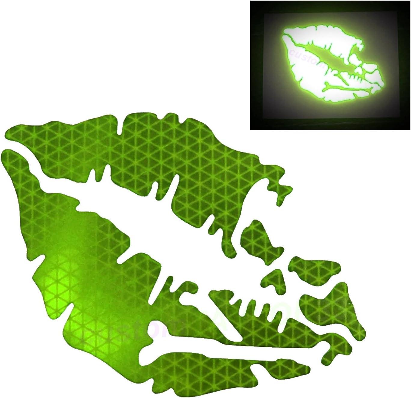 customTAYLOR33 High Intensity Reflective Vinyl Death Kiss Skull Crossbones Lips Decal Bumper Sticker - Cars, Motorcycles, Helmets, Wind Screens, laptops, cellphones, (SE Lime Green, 6 inch Wide)