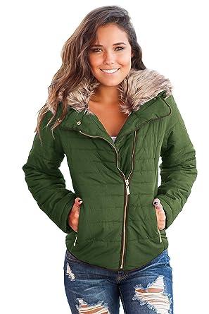 Aceshin+Winterjacke Damen Schwarz Steppjacke Warm Mantel Kurz Parka mit Fell  Winter Jacke Wintermantel 31c74af760