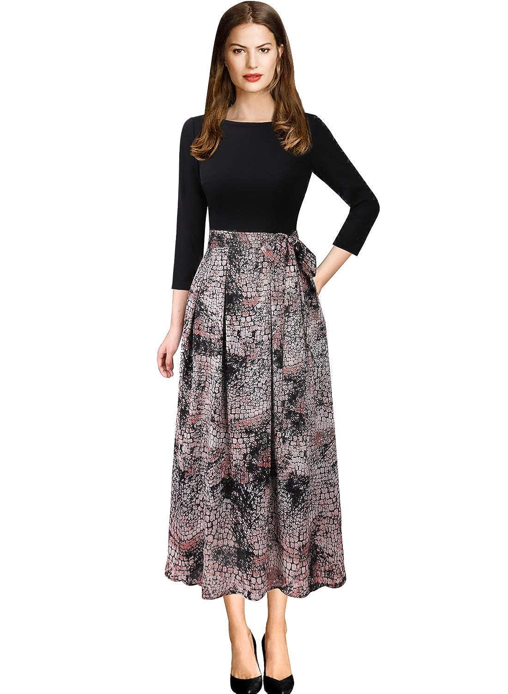 Black + Pink Stone Wall Print VFSHOW Womens Elegant Patchwork Pockets Print Work Casual ALine Midi Dress