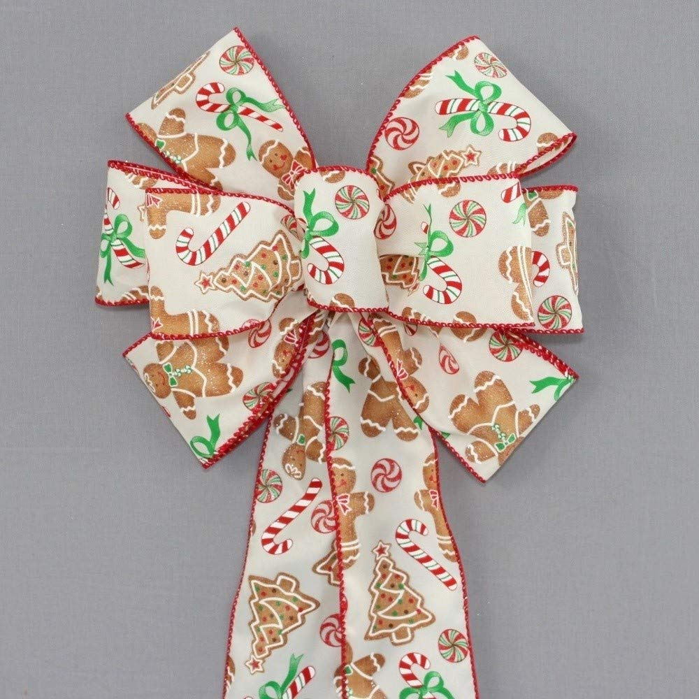 Gingerbread Candy Cane Christmas Wreath Bow - available in 2 sizes