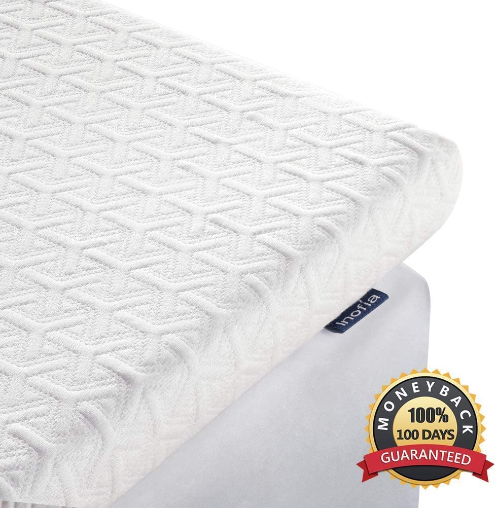 Inofia Full Mattress Topper, 2.5-Inch Memory Foam Mattress Topper in a Small Box,2-Layer Design for Pressure Relief,Full Zize Bed Topper with Cooling Breathable Removable Tencel Cover,Full