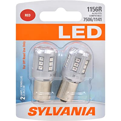 SYLVANIA - 1156 LED Red Mini Bulb - Bright LED Bulb, Ideal for Stop and Tail Lights (Contains 2 Bulbs): Automotive