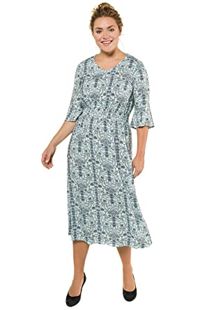 Ulla Popken Womens Plus Size Floral Print Day Dress 716227 At