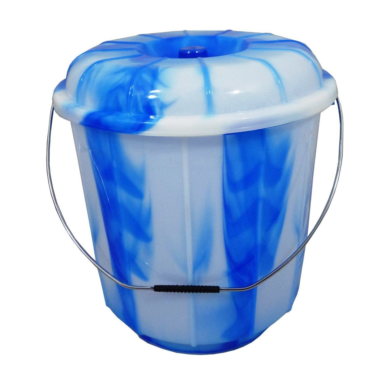3L/7L/5L/13L/16L/20L/25L Lidded Plastic Bucket With Carry Handle Ideal for Storage/Container/Tub/Caddy/Grain/Flour/Seed/Animal Feed (3 Litre, Blue) S&MC Gardenware