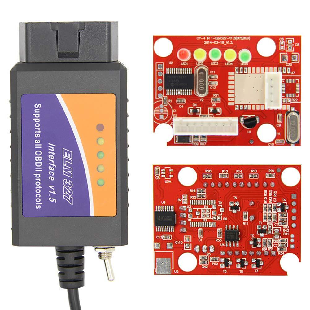 Ford ELMconfig OBD2 Romsion Accessori per Veicolo OBD2 Dispositivo USB ELM327 interfaccia Compatibile con Interruttore HS-Can//MS-Can per Scanner Forscan Focus Mazda