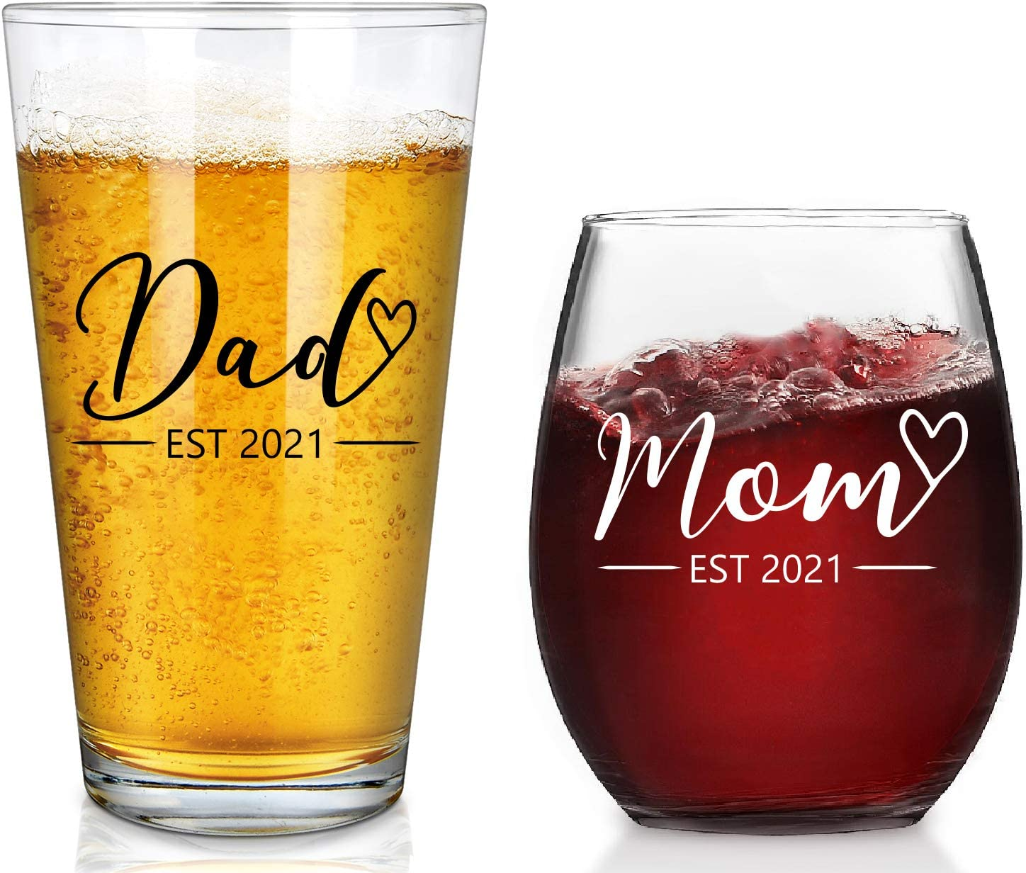 New Parents Gift - Mom & Dad EST 2021 Stemless Wine Glass and Beer Glass Set for Parents To Be Mom Dad Friend, Perfect Present for Mother's Day Father's Day Baby Shower Christmas Birthday Daily Use