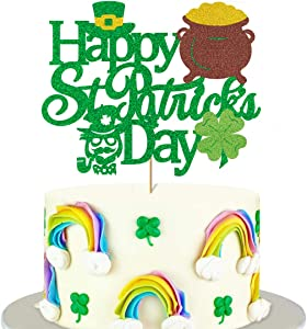 Glorymoment Happy St. Patrick's Day Cake Topper, Green Glitter Happy St. Patricks Cake Topper for Four Leaf Clover Shamrock Theme Party, St. Patrick's Day Cake Decoration for Irish Festival Spring Theme Party (6.7''x 5.3'')