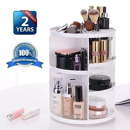 Makeup Organizer Large Capacity Cosmetic Storage Shelf 360° Rotating Vanity  Organizer Holder Adjustable Fits Lipstick