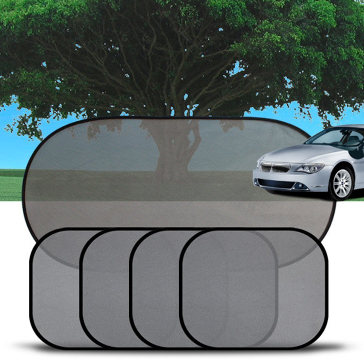 5 Pieces Child Sun Shade Car Sun Protection Car Sun Screen Car Sun Screens Baby,Kids & Pets Protection from Harmful UV Rays, Heat & Sun Glare - Cling Car Shades for Side Windows,Fits Most Cars, Black