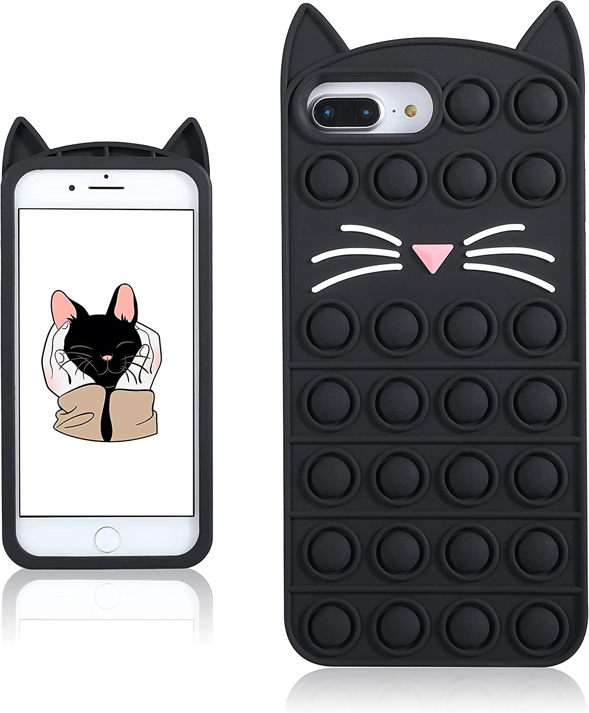 Coralogo Black Cat Case for iPhone 6 Plus/6S Plus/7 Plus/8 Plus Cartoon Funny Kawaii Cute Silicone Cover Fidget Unique Design Aesthetic for Girls Boys Kids Cases(for iPhone 6/6S/7/8 Plus 5.5