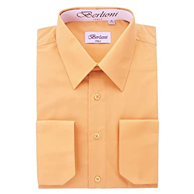 Men's Peach Solid Dress Shirt at Amazon Men's Clothing store: