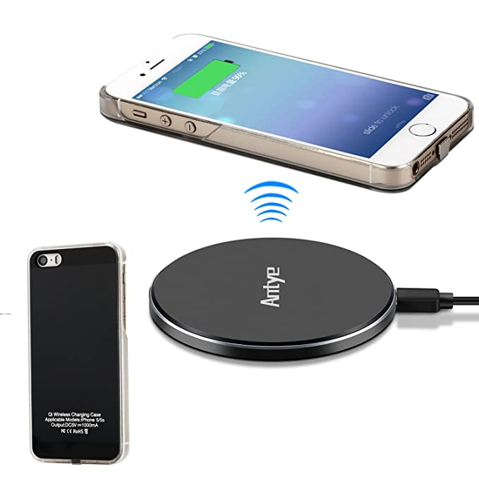 ANTYE Qi Wireless Charger Kit for iPhone 5 5S SE - Including Wireless Charging Receiver Case and (Ultra Slim) Aluminum Wireless Charging Pad (Black)