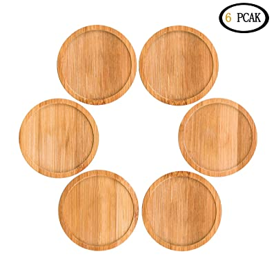 TIANGR 6PACK Bamboo Plant Round Saucer【2.5Inch】 - Succulent Plant Tray, Perfect for Owl Pot, Succulent Pot,Cactus Pot,Small Flower Pot (Ideal for Pot Diameter Less Than 2.5inch): Garden & Outdoor