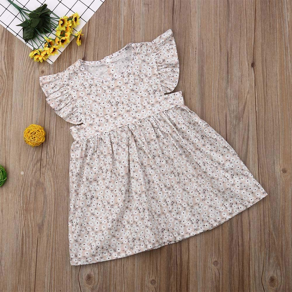 Toddler Baby Girls Dress Fly Sleeve Floral Ruffle Princess Party Tutu Dress Casual Summer Outfits 2-6Y