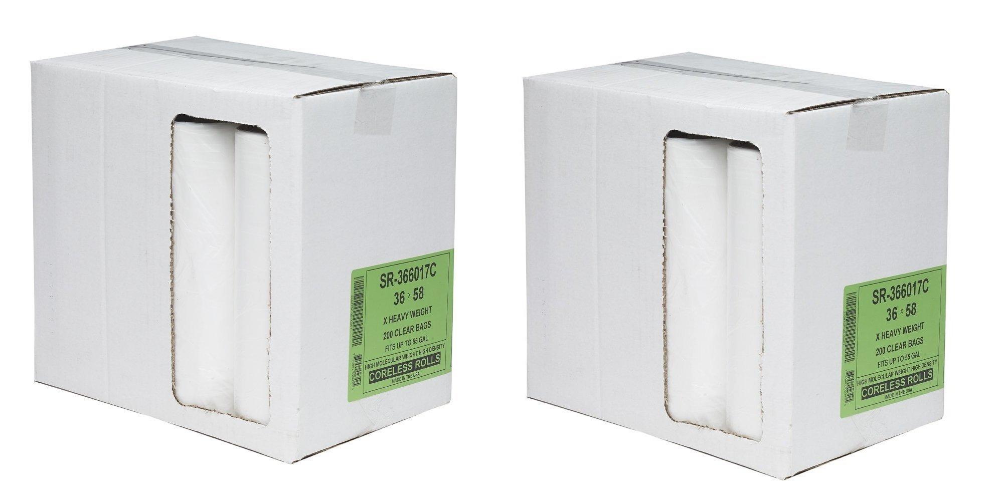 Aluf Plastics SR-366017C SR High Density Star Seal Roll Bag, 50-55 Gallon Capacity, 58'' Length x 36'' Width, Clear (Case of 200) (2 X Case of 200)