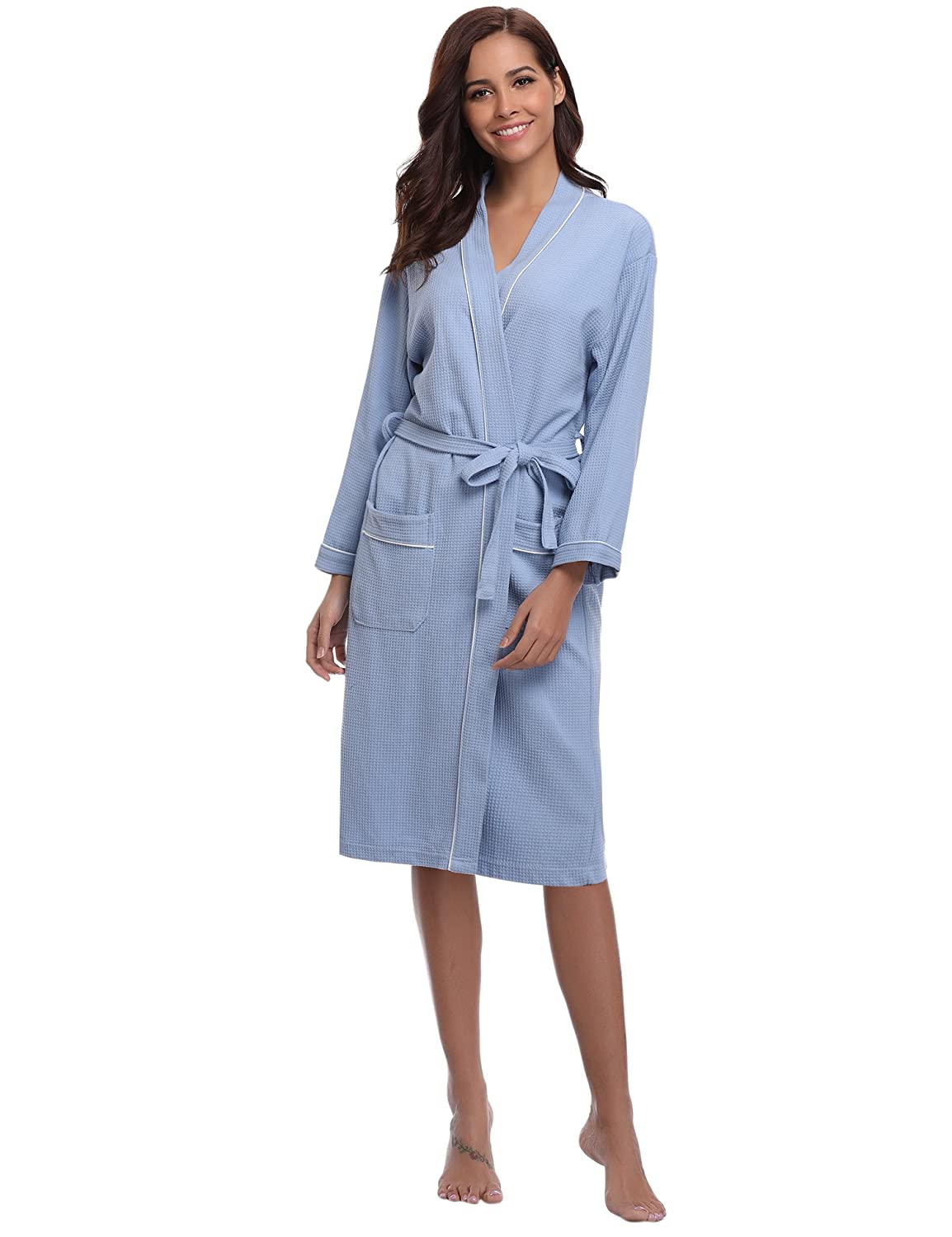 Aibrou Bathrobes for Women Waffle Weave Spa Robe Womens Kimono Lightweight  Cotton Robe at Amazon Women s Clothing store  ba6f12058