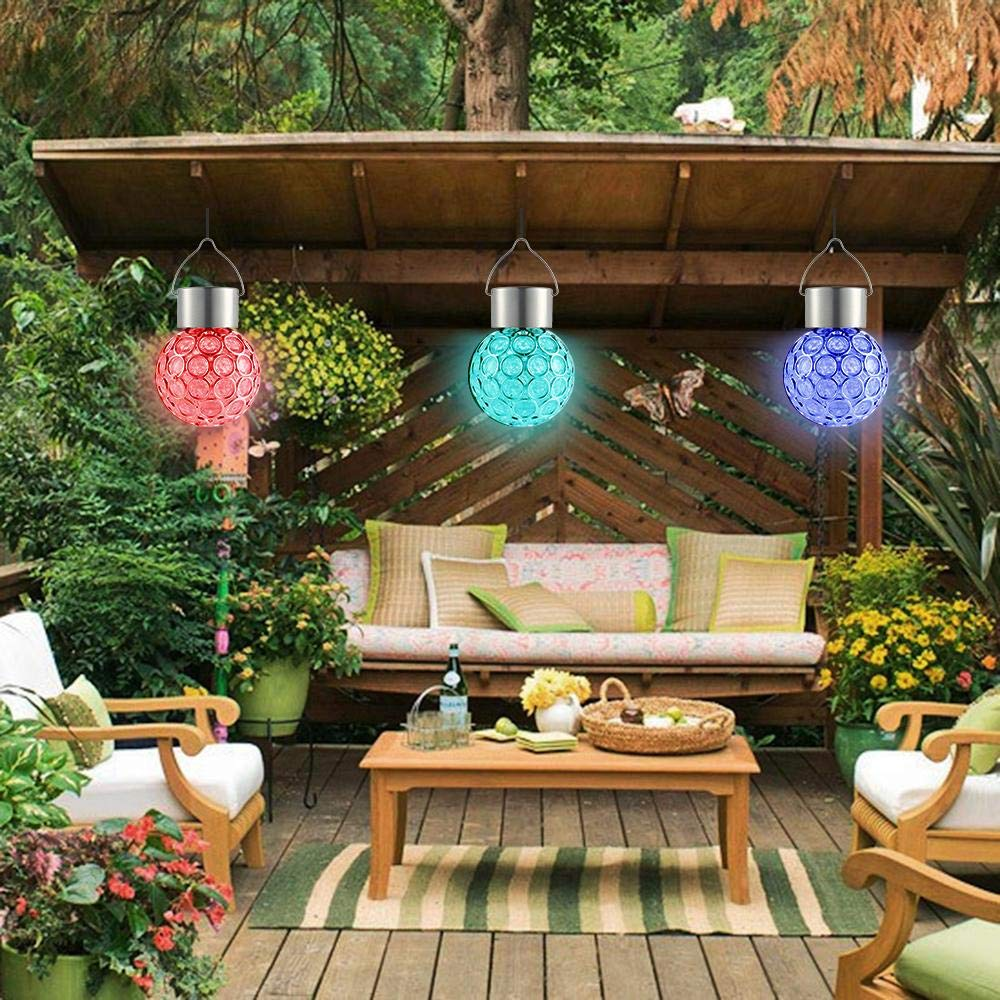 Aolvo Solar Hanging Crystal Ball Light,Outdoor Hanging Decorative Sparkling Crystals Gazing Ball with Solar Powered Color Changing LED Light